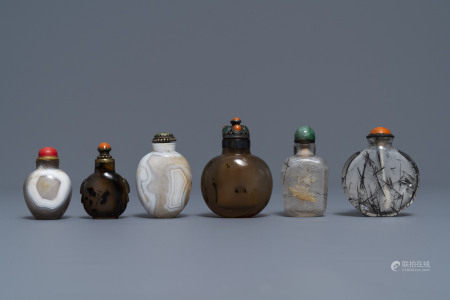 Six Chinese needle quartz and agate snuff bottles, 19/20th C.