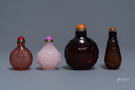 Four Chinese cherry red and pink glass snuff bottles, 19/20th C.