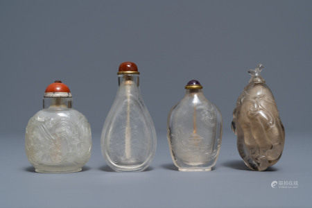 Four Chinese smokey quartz and rock crystal snuff bottles, 18/19th C.
