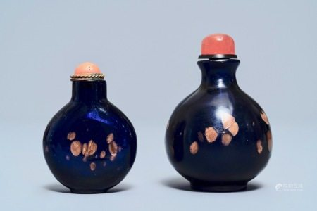 Two Chinese sapphire-blue aventurine-glass snuff bottles, 18/19th C.
