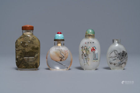 Four Chinese reverse-painted glass snuff bottles, 19/20th C.