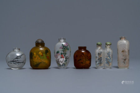 Six Chinese reverse-painted glass snuff bottles, 19/20th C.
