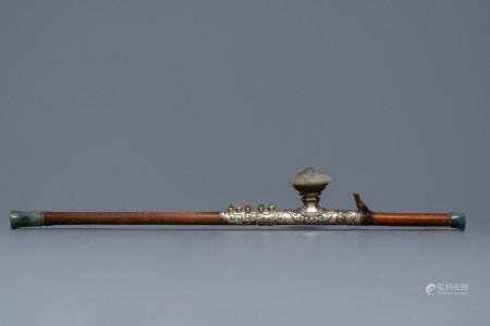 A Chinese jade and semi-precious stones inlaid bamboo opium pipe, 19th C.