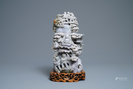 A Chinese jadeite vase and cover with Buddha and playing children, 19/20th C.