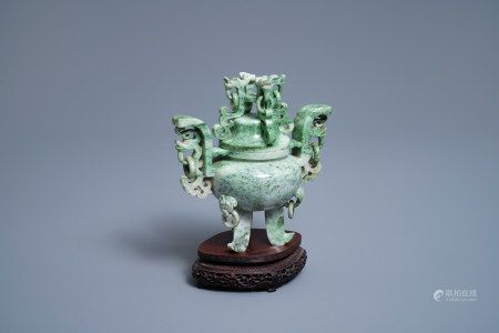 A Chinese jadeite censer and cover on wooden stand, Republic