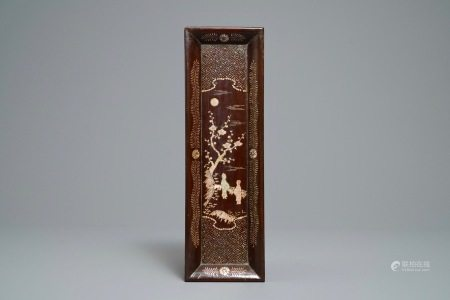 A rectangular Chinese mother-of-pearl-inlaid lacquered wooden tray, 17/18th C.