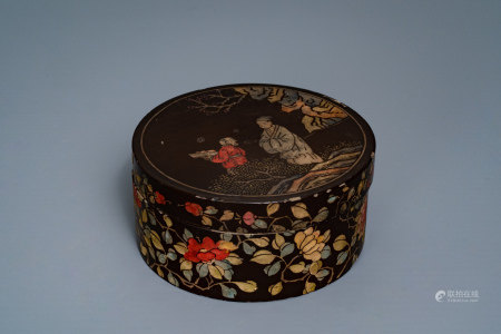 A Chinese carved and inlaid coromandel lacquer box, 17/18th C.