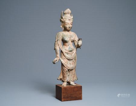 A bronze figure of a deity, Southeast Asia, 18/19th C.