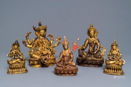 Five Sino-Tibetan gilt bronze Buddha figures, 19/20th C.