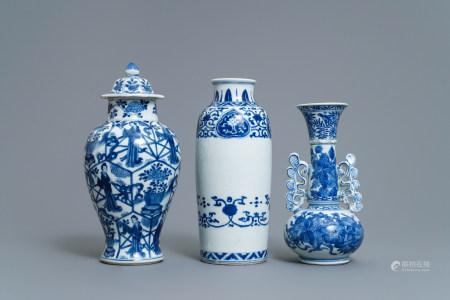 Three Chinese blue and white vases, Kangxi
