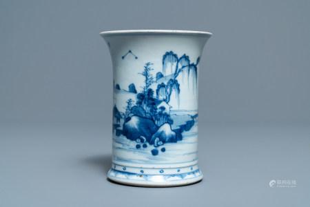 A Chinese blue and white 'landscape' brush pot, bitong, Kangxi
