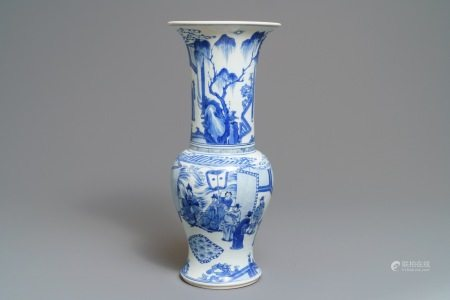A Chinese blue and white yenyen vase with fine figurative design, Kangxi