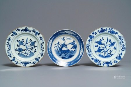 Three Chinese blue and white plates with Johanneum mark, ex-coll. August the Strong, Kangxi
