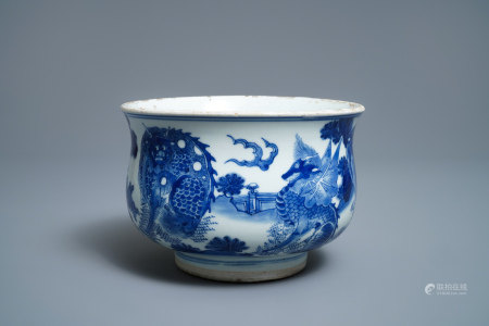 A Chinese blue and white 'mythical beasts' censer, Transitional period