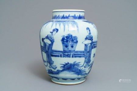 A Chinese blue and white jar with ladies in a garden, Transitional period