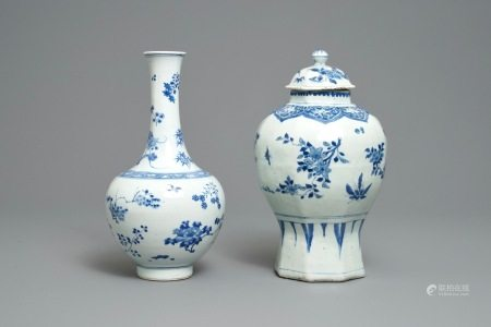 Two Chinese blue and white vases with floral design, Transitional period