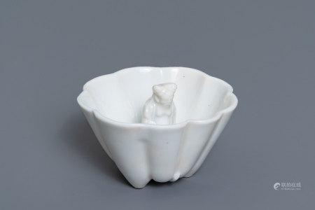 A Chinese blanc de Chine 'Lu Hong Jian' puzzle cup, Transitional period