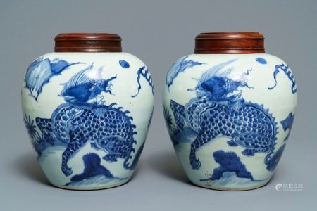 A pair of Chinese blue and white 'qilin' jars, Transitional period