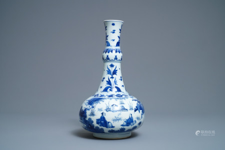 A Chinese blue and white bottle vase with figures in a landscape, Transitional period