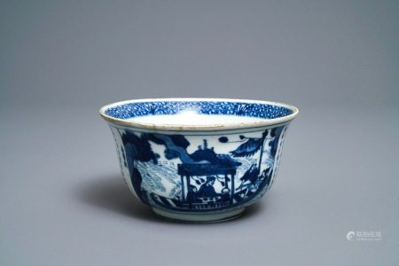 A Chinese blue and white 'Ode to the red cliffs' bowl, Transitional period