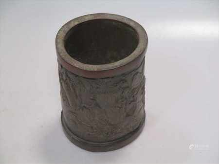 A Chinese bamboo brush pot, 16cm high