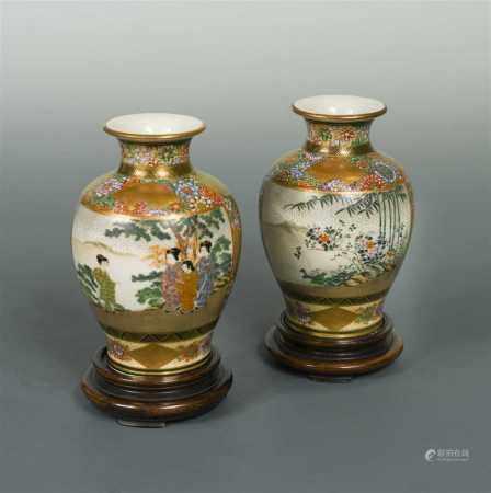A pair of Japanese Satsuma pottery small vases, circa 1910-20,