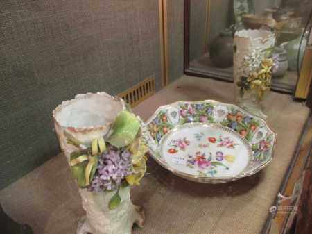 A Dresden type wall plate, another, a vase and a pair of spill vases (5)