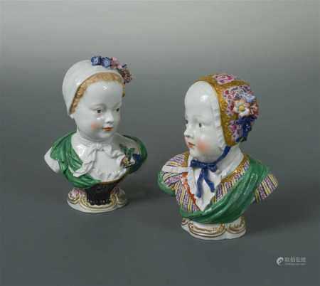 A composed pair of Meissen portrait busts of the Bourbon children,