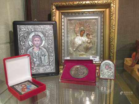 A Romanian Icon - silver and lacquer 20th Century and 3 men and a medal