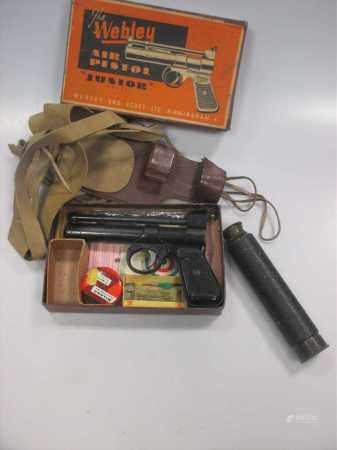 The Webley 'Junior Model' Air Pistol (boxed) together with an early 20th century 3 draw telescope