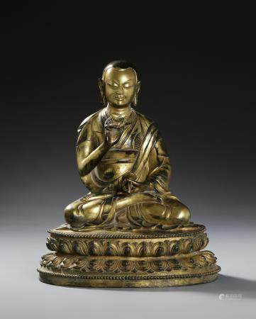 Chinese Gilt-Bronze Buddhist Figure of Lama