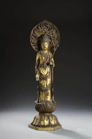 Chinese Gilt-Bronze Buddhist Figure of Guanyin