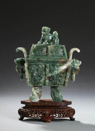 Chinese Spinach Jade Vessel