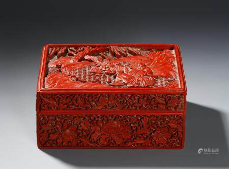 Chinese Cinnabar Lacquer Box and Cover
