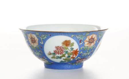 Chinese Blue-Ground Famille Rose 'Medallion' Bowl
