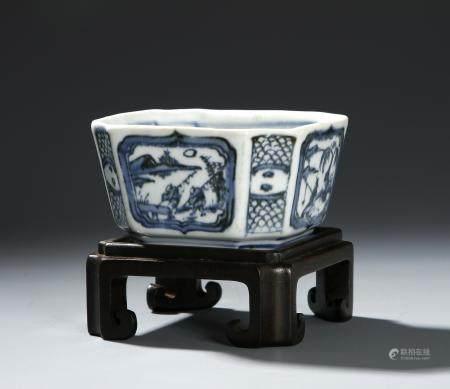 Chinese Blue and White Octagonal Brushwasher