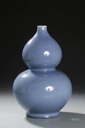 Chinese Blue-Glazed Double-Gourd Vase