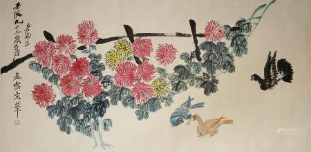 Chinese Scroll Painting of Flowers and Birds