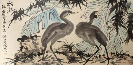 Chinese Scroll Painting of Two Egrets
