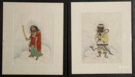 Two Chinese Framed Paintings of Luohan