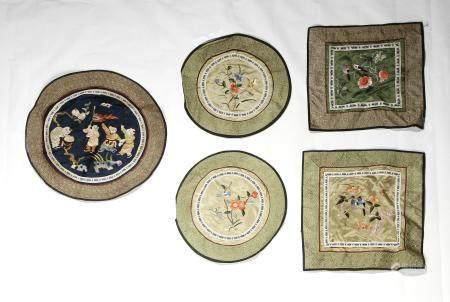 Five Chinese Silk Panels