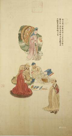 Chinese Scroll Painting of Immortals