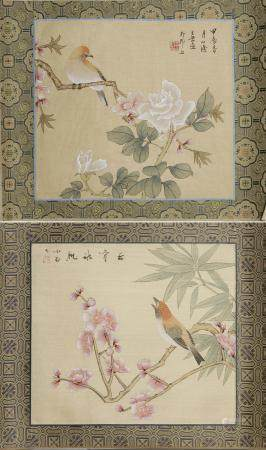 Two Chinese Paintings of Flowers and Birds