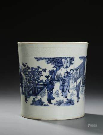 Chinese Blue and White Figural Brushpot