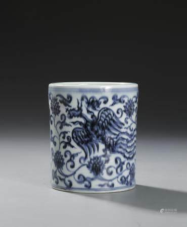 Chinese Blue and White 'Phoenix' Brushpot