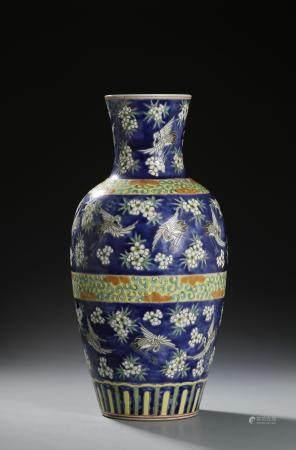 Chinese Blue Ground Famille Rose Vase
