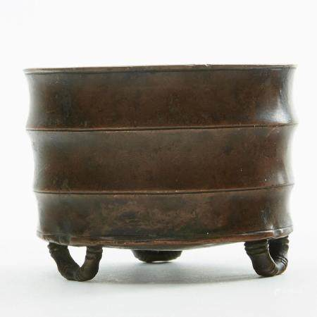 Chinese Faux Bamboo Bronze Censer-Marked