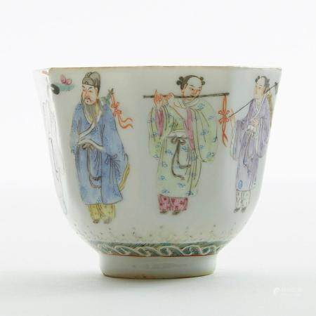 Tangxi Period Chinese Porcelain Famille Rose Cup w/ Mark