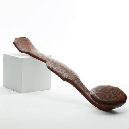 Chinese Qianlong Period Cinnabar Lacquer Scepter