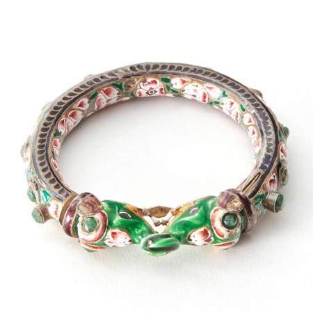 Indian Mughal Enameled Silver and Emerald Bangle